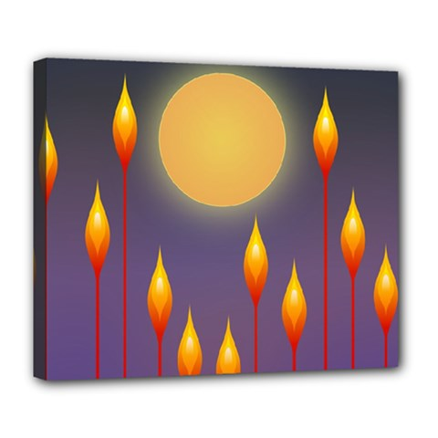 Night Moon Flora Background Deluxe Canvas 24  x 20  (Stretched)