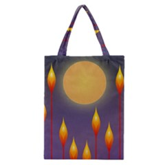 Night Moon Flora Background Classic Tote Bag