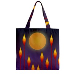 Night Moon Flora Background Zipper Grocery Tote Bag