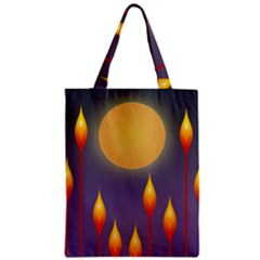 Night Moon Flora Background Zipper Classic Tote Bag