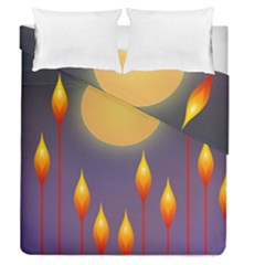 Night Moon Flora Background Duvet Cover Double Side (Queen Size)