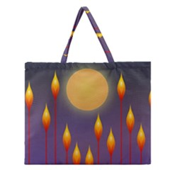 Night Moon Flora Background Zipper Large Tote Bag