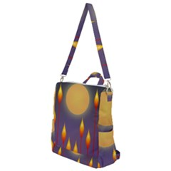 Night Moon Flora Background Crossbody Backpack