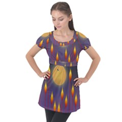 Night Moon Flora Background Puff Sleeve Tunic Top