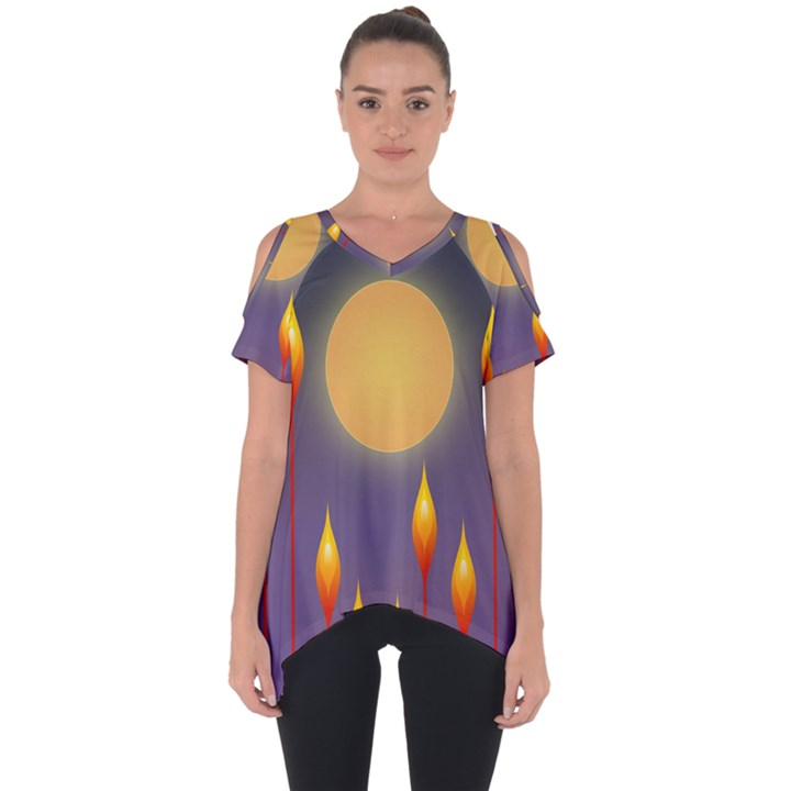 Night Moon Flora Background Cut Out Side Drop Tee