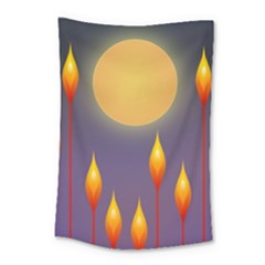 Night Moon Flora Background Small Tapestry