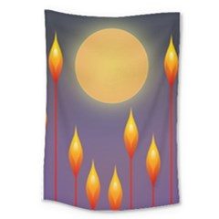 Night Moon Flora Background Large Tapestry