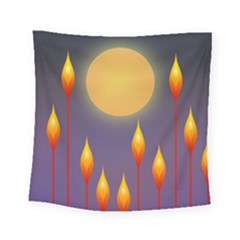 Night Moon Flora Background Square Tapestry (small)