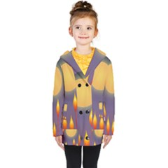 Night Moon Flora Background Kids  Double Breasted Button Coat