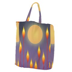 Night Moon Flora Background Giant Grocery Tote
