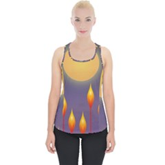 Night Moon Flora Background Piece Up Tank Top