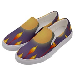 Night Moon Flora Background Men s Canvas Slip Ons