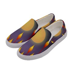 Night Moon Flora Background Women s Canvas Slip Ons