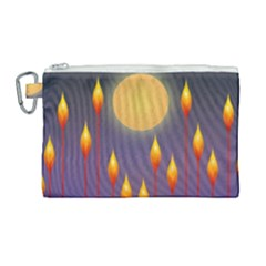 Night Moon Flora Background Canvas Cosmetic Bag (Large)