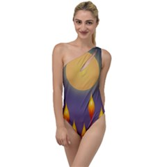 Night Moon Flora Background To One Side Swimsuit