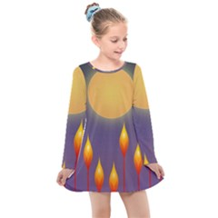 Night Moon Flora Background Kids  Long Sleeve Dress
