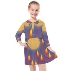 Night Moon Flora Background Kids  Quarter Sleeve Shirt Dress
