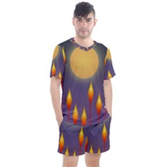 Night Moon Flora Background Men s Mesh Tee and Shorts Set