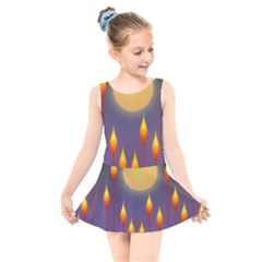 Night Moon Flora Background Kids  Skater Dress Swimsuit