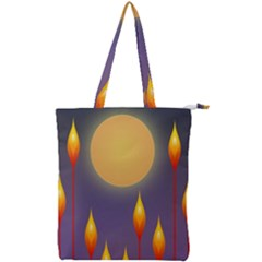 Night Moon Flora Background Double Zip Up Tote Bag