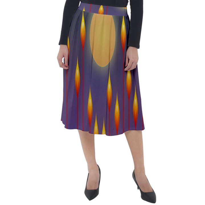 Night Moon Flora Background Classic Velour Midi Skirt