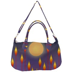 Night Moon Flora Background Removal Strap Handbag by HermanTelo