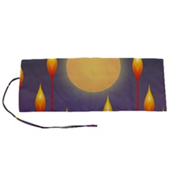 Night Moon Flora Background Roll Up Canvas Pencil Holder (S)