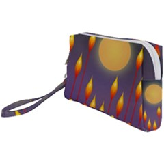Night Moon Flora Background Wristlet Pouch Bag (Small)
