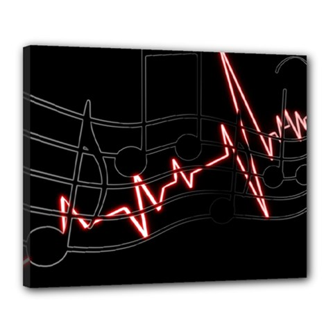 Music Wallpaper Heartbeat Melody Canvas 20  X 16  (stretched)