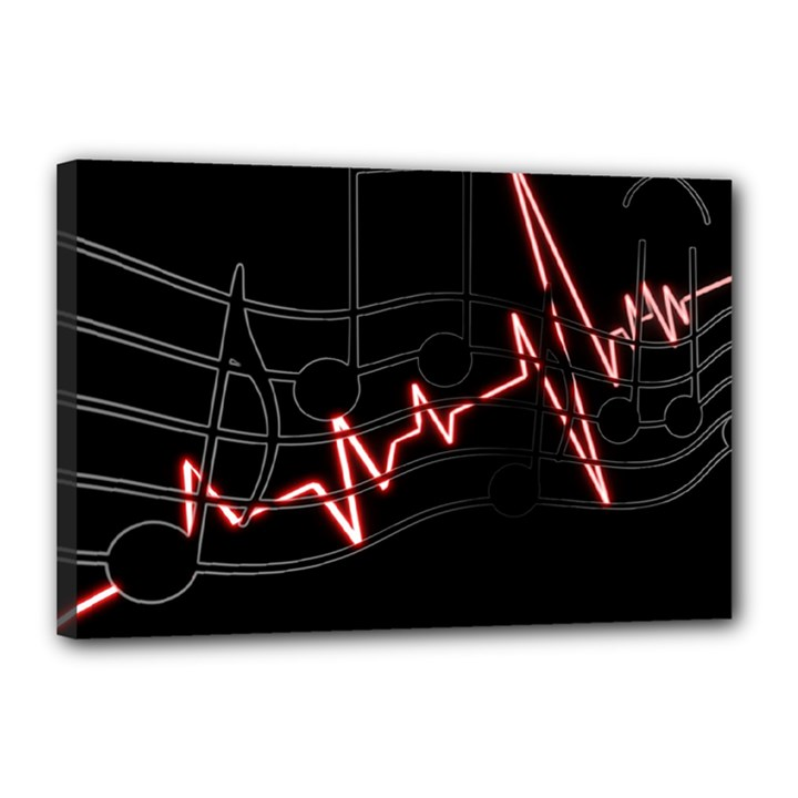 Music Wallpaper Heartbeat Melody Canvas 18  x 12  (Stretched)