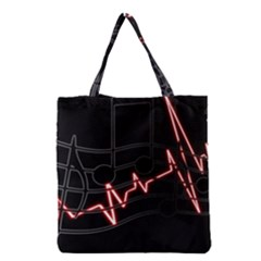Music Wallpaper Heartbeat Melody Grocery Tote Bag