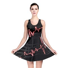 Music Wallpaper Heartbeat Melody Reversible Skater Dress by HermanTelo