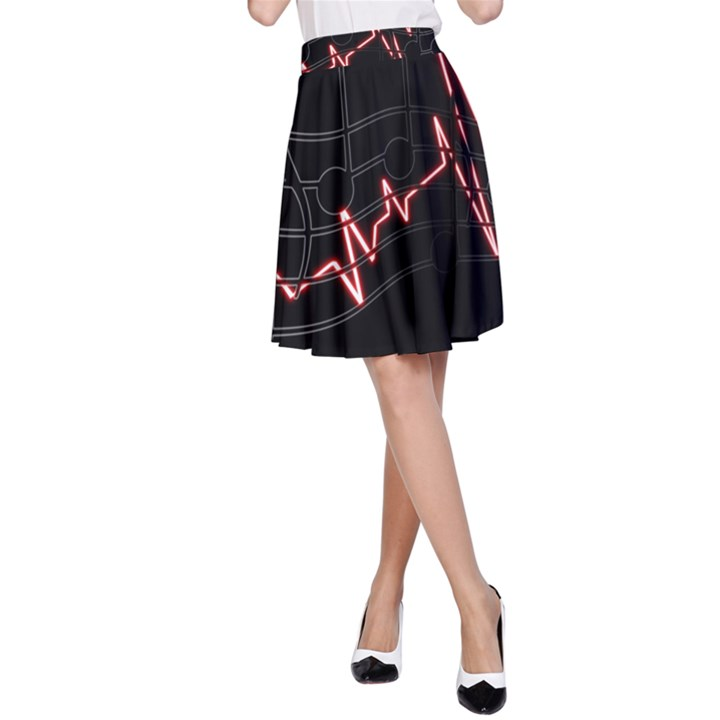 Music Wallpaper Heartbeat Melody A-Line Skirt