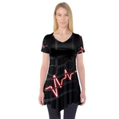Music Wallpaper Heartbeat Melody Short Sleeve Tunic