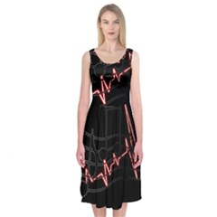 Music Wallpaper Heartbeat Melody Midi Sleeveless Dress