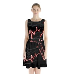 Music Wallpaper Heartbeat Melody Sleeveless Waist Tie Chiffon Dress