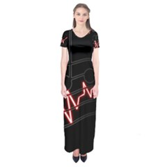 Music Wallpaper Heartbeat Melody Short Sleeve Maxi Dress by HermanTelo