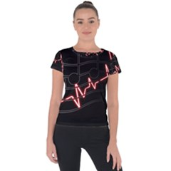 Music Wallpaper Heartbeat Melody Short Sleeve Sports Top