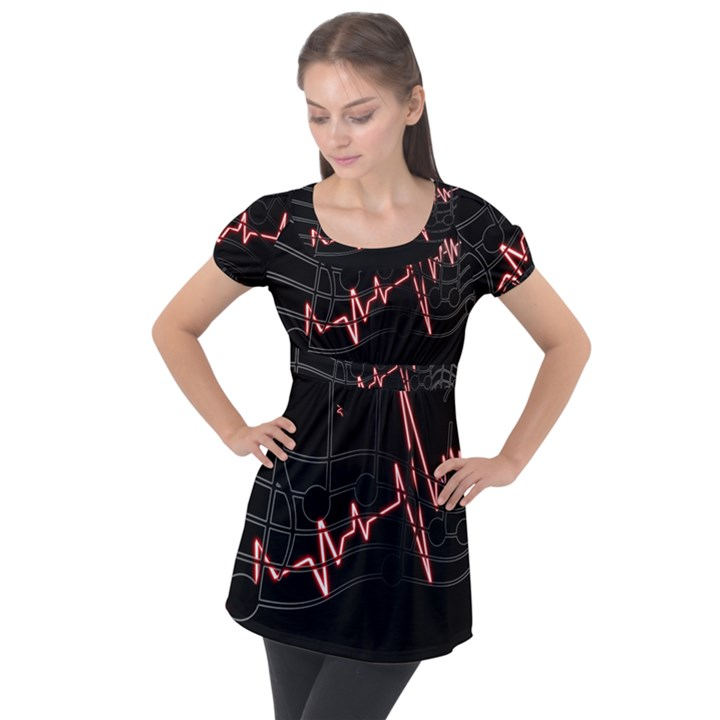 Music Wallpaper Heartbeat Melody Puff Sleeve Tunic Top