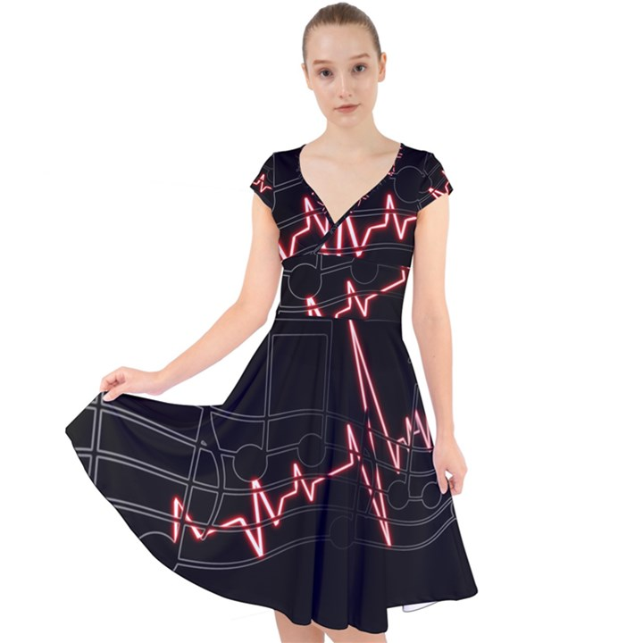 Music Wallpaper Heartbeat Melody Cap Sleeve Front Wrap Midi Dress