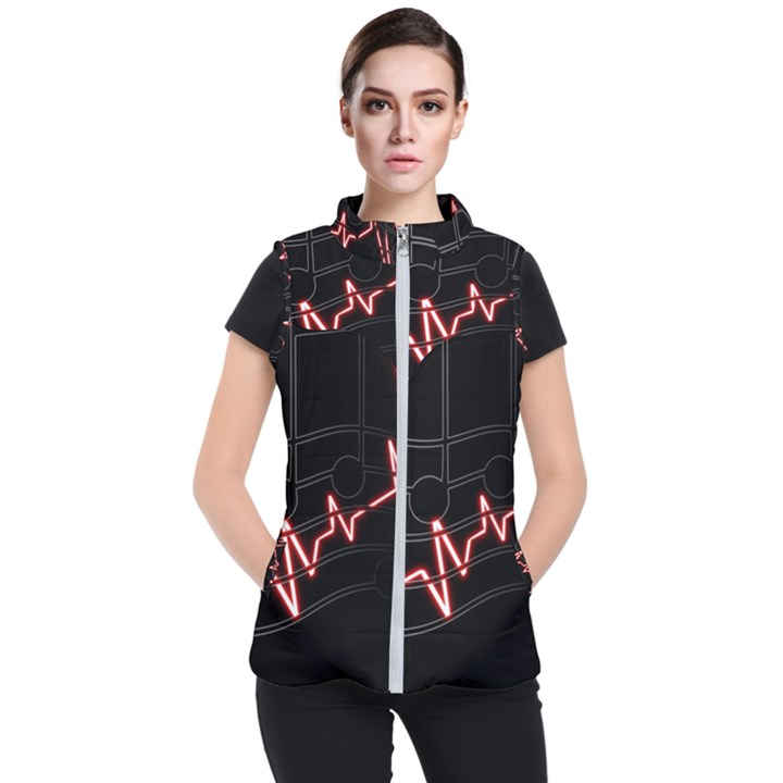 Music Wallpaper Heartbeat Melody Women s Puffer Vest