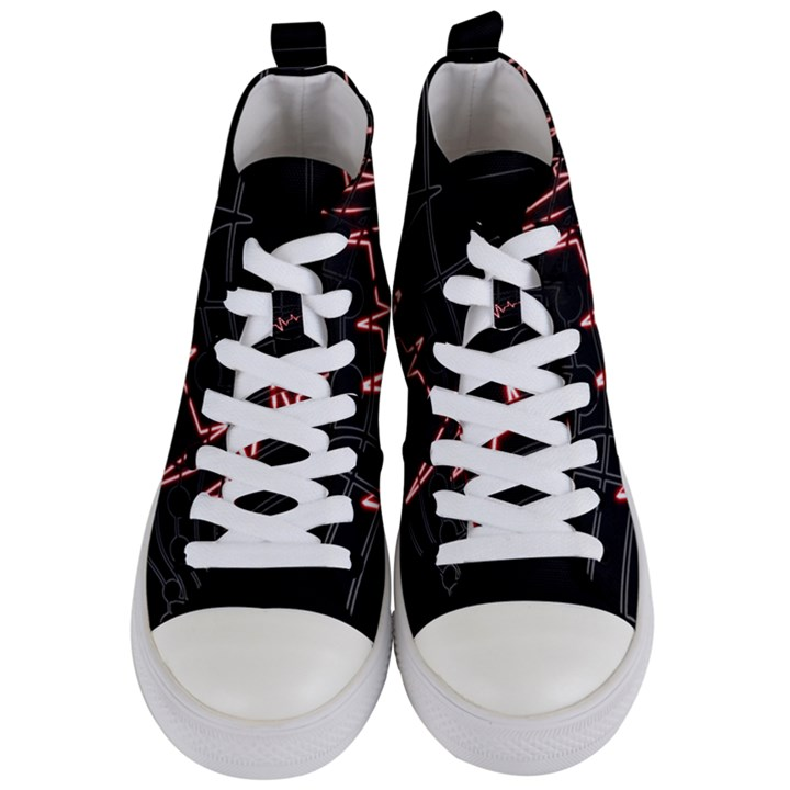 Music Wallpaper Heartbeat Melody Women s Mid-Top Canvas Sneakers