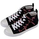 Music Wallpaper Heartbeat Melody Women s Mid-Top Canvas Sneakers View2