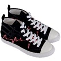 Music Wallpaper Heartbeat Melody Women s Mid-Top Canvas Sneakers View3