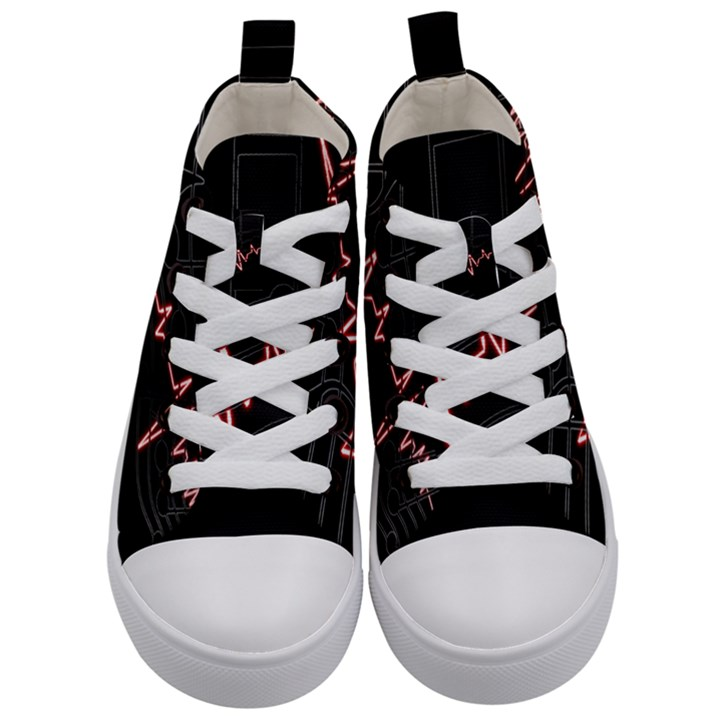 Music Wallpaper Heartbeat Melody Kids  Mid-Top Canvas Sneakers