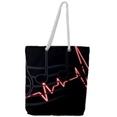 Music Wallpaper Heartbeat Melody Full Print Rope Handle Tote (large) by HermanTelo