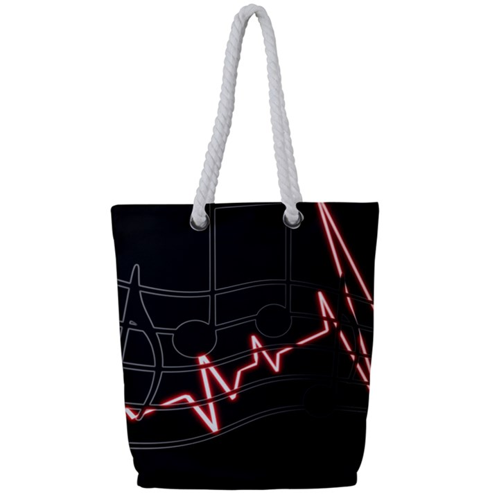 Music Wallpaper Heartbeat Melody Full Print Rope Handle Tote (Small)