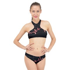 Music Wallpaper Heartbeat Melody High Neck Bikini Set