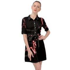 Music Wallpaper Heartbeat Melody Belted Shirt Dress by HermanTelo