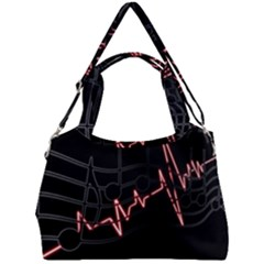 Music Wallpaper Heartbeat Melody Double Compartment Shoulder Bag by HermanTelo